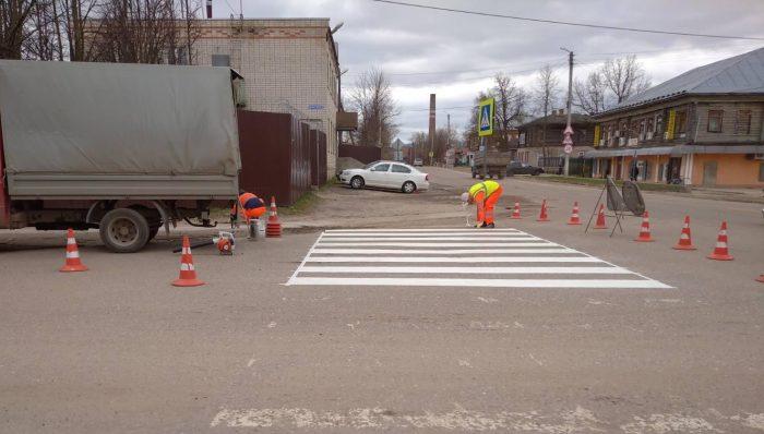 На улицах города идут работы по нанесению  дорожной разметки